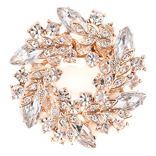 CharmsStory Vintage Flower Brooches Clear White Synthetic Crystal Penannular Brooch Pin (White Gold Vintage Brooch)