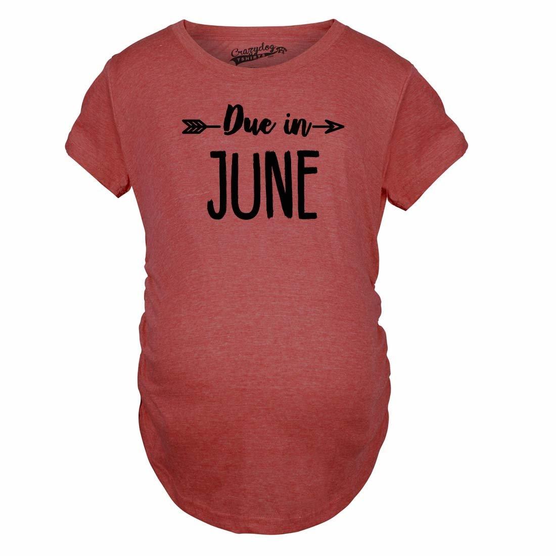 Maternity Due In June Tshirt Baby Shower Announcement Pregnancy Tee Crazy Dog Tshirts 018DueInJuneMAT