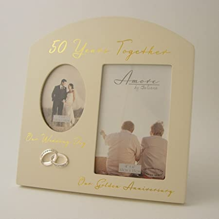 50 Years Together 50th Golden Wedding Anniversary Double Photo Frame