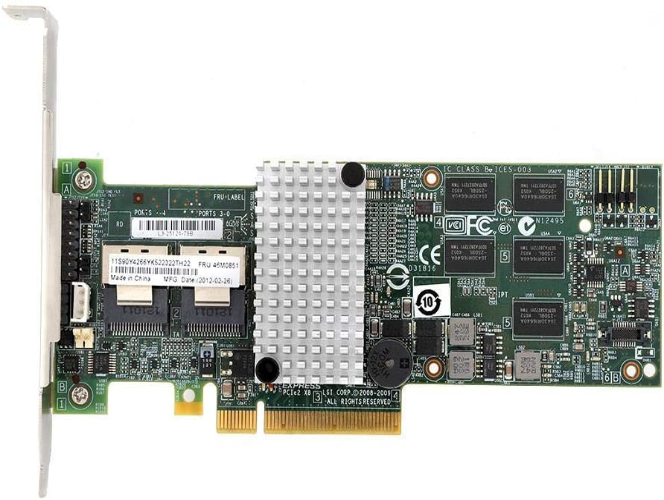 Tarjeta de Matriz SATA/SAS PCI-E X8 6Gb / s Tarjeta Raid controladora de Puertos SAS/SATA Interna de 6 Gbps para LSI 9260-8i / IBM M5015 46M0851
