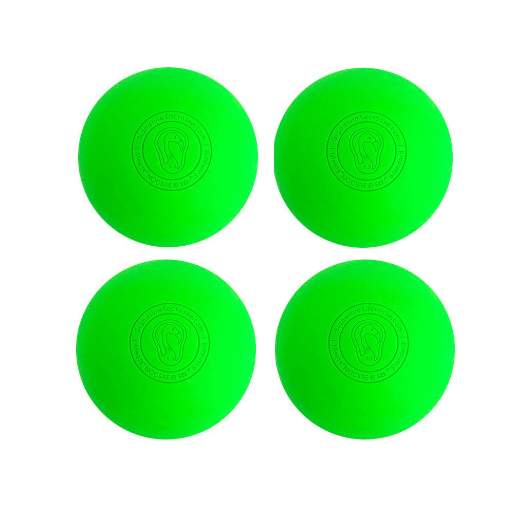 Signature Lacrosse Ball (4-Ball) Neon Green NOCSAE & SEI Approved Green-4P
