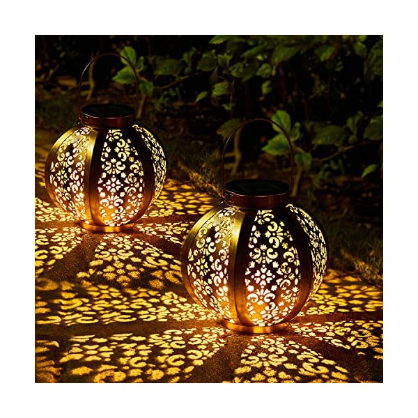 2 Stück Solar Laterne für Außen,OxyLED IP44 Wasserdicht Dekorativ Solar Gartenleuchte,Solarlampe Outdoor Dekorationen…