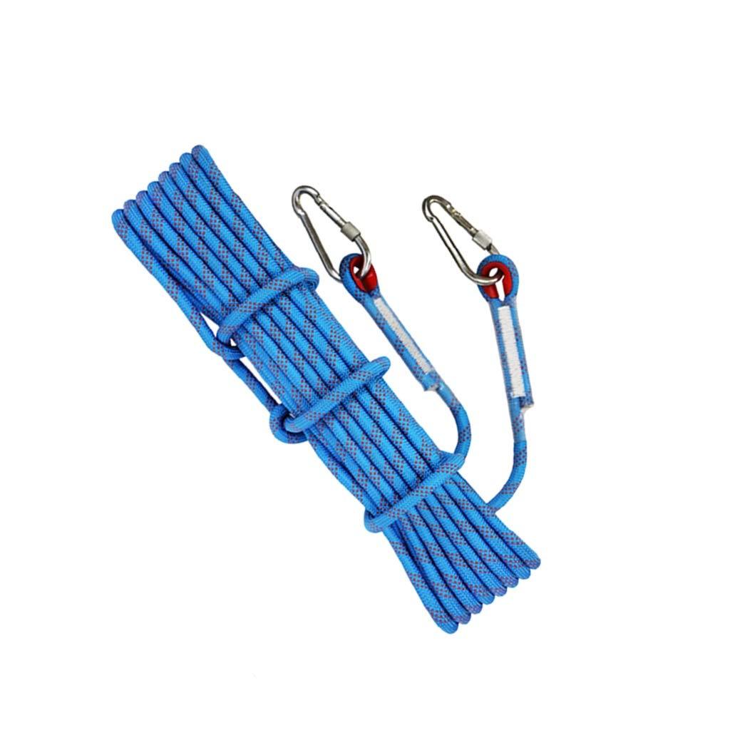 LIINA ロープ 20mmの屋外の静的なロープポリエステル安全安定した摩耗抵抗の高い引張強さは48KNまで二重ホックの複数の色の引張力を送ります (Color : 青, Size : 30m) 青 30m