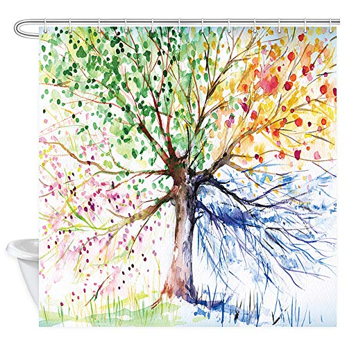 Hand Painted Artwork Set - NYMB Hand Painted Abstract Landscape Colorful Lucky Tree Shower Curtains,Life Tree Artwork Polyester Fabric Shower Curtain Set Fantastic Decorations Bath Curtain, 69X70inches
