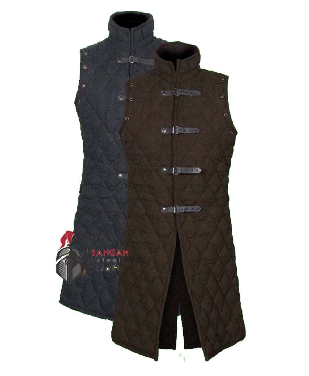 SANGAMSTEELCRAFT Medieval Thick Padded Sleeve-Less Full Length Gambeson Coat Aketon Jacket Armor, Costumes Dress SCA (Large)