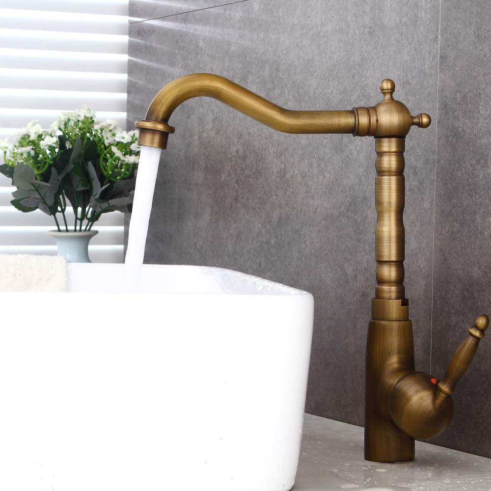 Jackeylove Badezimmer Becken Sink Tap Oberer Becken Wasserhahn Antique Wasserhahn heiß und kalt Kupfer pullable Lavatapfel Europäischen Retro-Zeichentisch