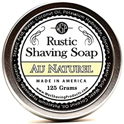 WSP Hypoallergenic Luxury Rustic Shaving Soap 4.4 Oz in Tin Artisan Made in America Using Vegan Natural Ingredients (Au Naturel)