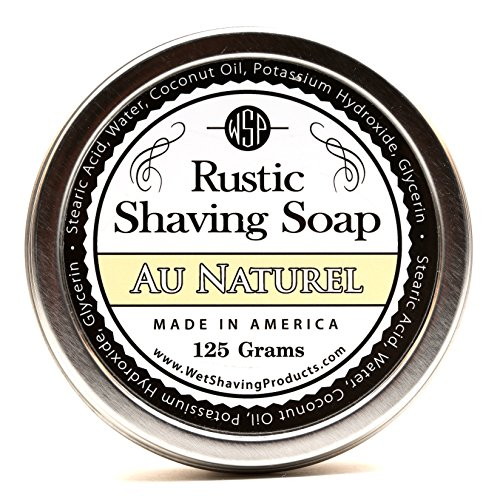 WSP Hypoallergenic Rustic Shaving Soap 4.4 Oz (Unscented) Artisan Made in America Using Vegan Natural Ingredients