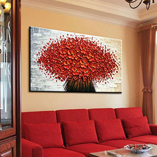 baccow Large Orange Red Flowers Paintings Modern Framed Wall Art 3D Hand Painted Artwork Abstract Floral Pictures on Canvas Wall Art Ready to Hang for Living Room Bedroom Home Decor(24X48 inch) … (Flower Large Paintings)
