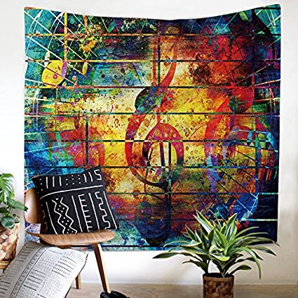 Bohemian Tapestry Colourful Music Note Printed Wall Hanging Fabric Wallpaper Wall Art Music Home Decor, 59 W x 51 L by ZHH