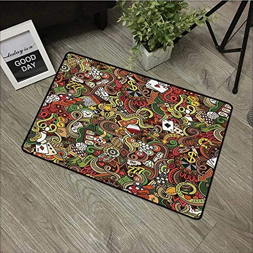 Universal Door Mat Casino,Doodles Style Artwork of Bingo and Cards Excitement Checkers King Tambourine Vegas,Multicolor,with Non Slip Backing,16