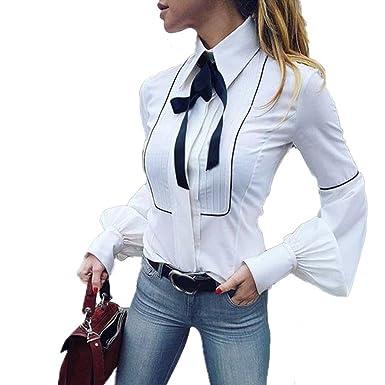 new product 42b71 dea02 Moda Camicetta Donna Camicia da Lavoro A Maniche Lunghe Bottoni Bianchi di  Base Cravatta A Farfalla Camicetta Top Bianco