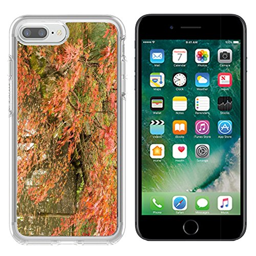 Luxlady Apple iPhone 7/8 Clear case Soft TPU Rubber Silicone Bumper Snap Cases iPhone7/8 IMAGE ID 31354708 Red maples planted on the shore and reflection in a Japanese garden near - Garden Heian Shrine