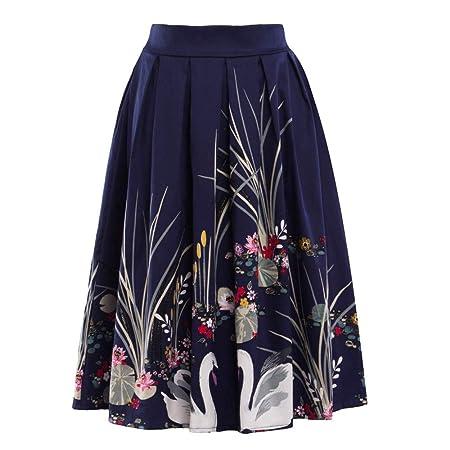 Falda Vintage Acampanada Estampada de Verano para Mujer: Amazon.es ...