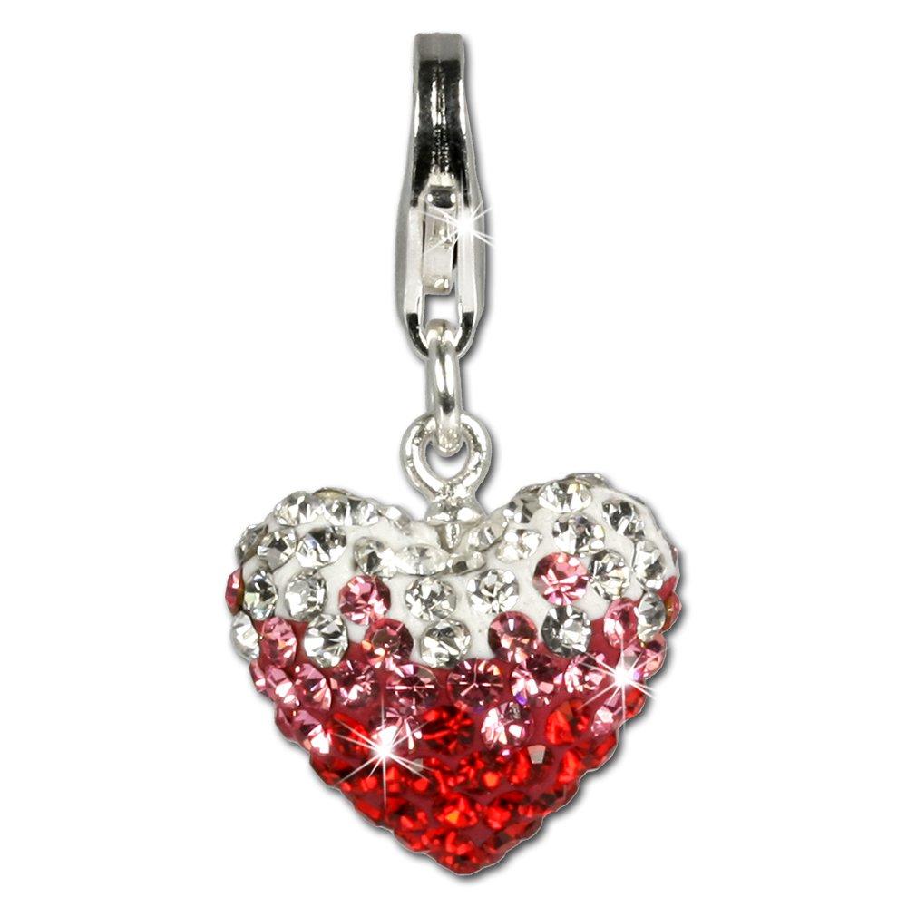 per braccialetti collane e orecchini Ciondolo Ice con Swarovski e cuore rosso in argento Sterling 925 SilberDream GSC002