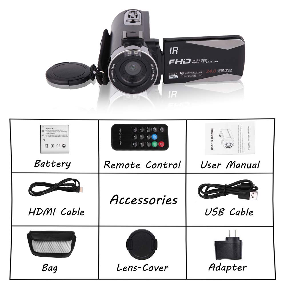 Camcorder 1080P FHD Video Camera Night Vision Video Camcorder with 270 Degree Rotation Screen and Remote Control Vlogging Camera for YouTube Supports External Microphone