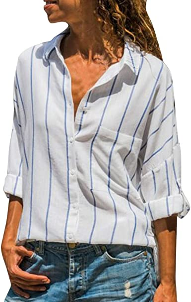 Blusas Mujer, Moda Y Elegancia Manga Larga Camisa A Rayas con Cuello En V Y Bolsillo CóModa Slim Fit Camiseta Solapa Tops De Negocios O Casuales Nuevo Dama Blouse: Amazon.es: Ropa y
