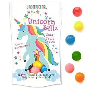 Unicorn Ballz Sour Candy - Fruity Rainbow Balls - Made in the USA - Unicorn Gifts - Bachelorette Gag Gift