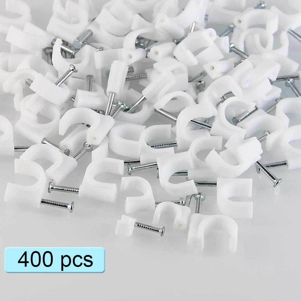 400 Pi/èces Fil de C/âble Clips Blanc DECARETA Cable Fixation Attache-c/âble en 4//6//8//10 mm Attache C/âble avec Clous pour Fixation C/âble
