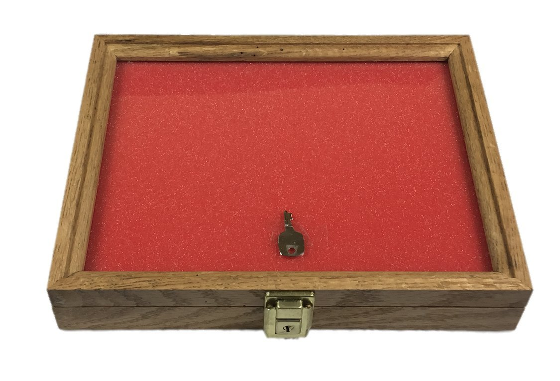 Walnut, Oak, or Cherry Wood Display Case 9 x 12 x 2 for Arrowheads Knifes Collectibles & More (Oak Wood)
