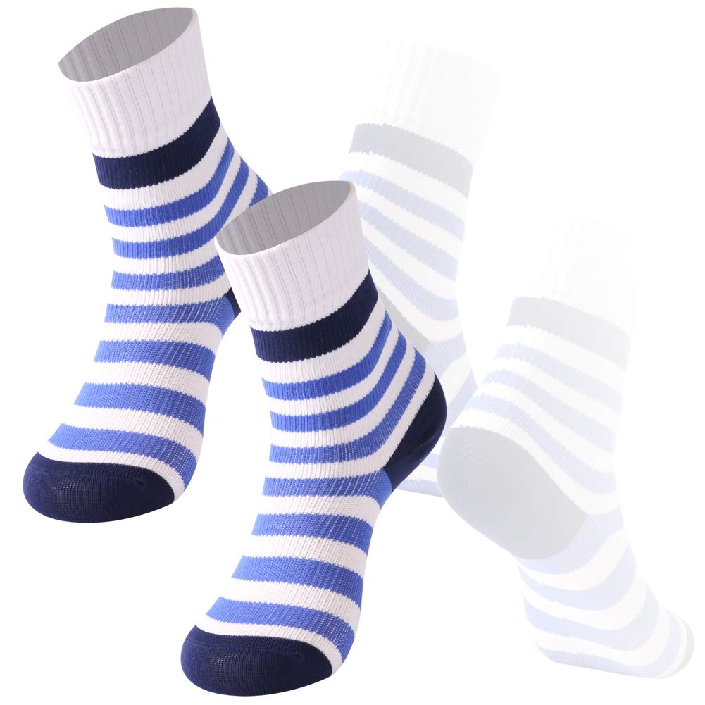 Boys Athletic Socks Waterproof Socks, RANDY SUN Mid-Calf Ultimate Stripe Socks for 6-9 years Active Kids, 2 Pairs White & Blue