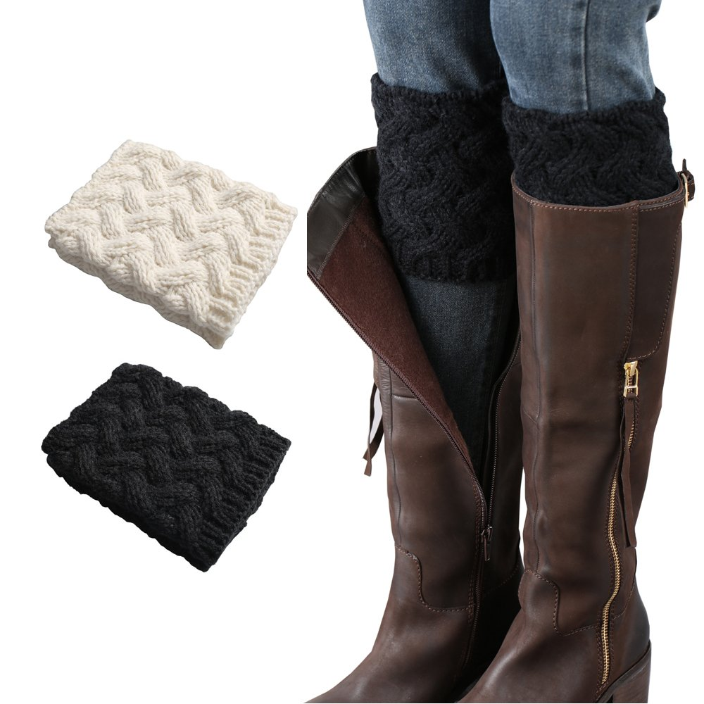 Women's Crochet Leg Warmers Winter Cable Knit Boot Cuffs Topper Ivory and Black