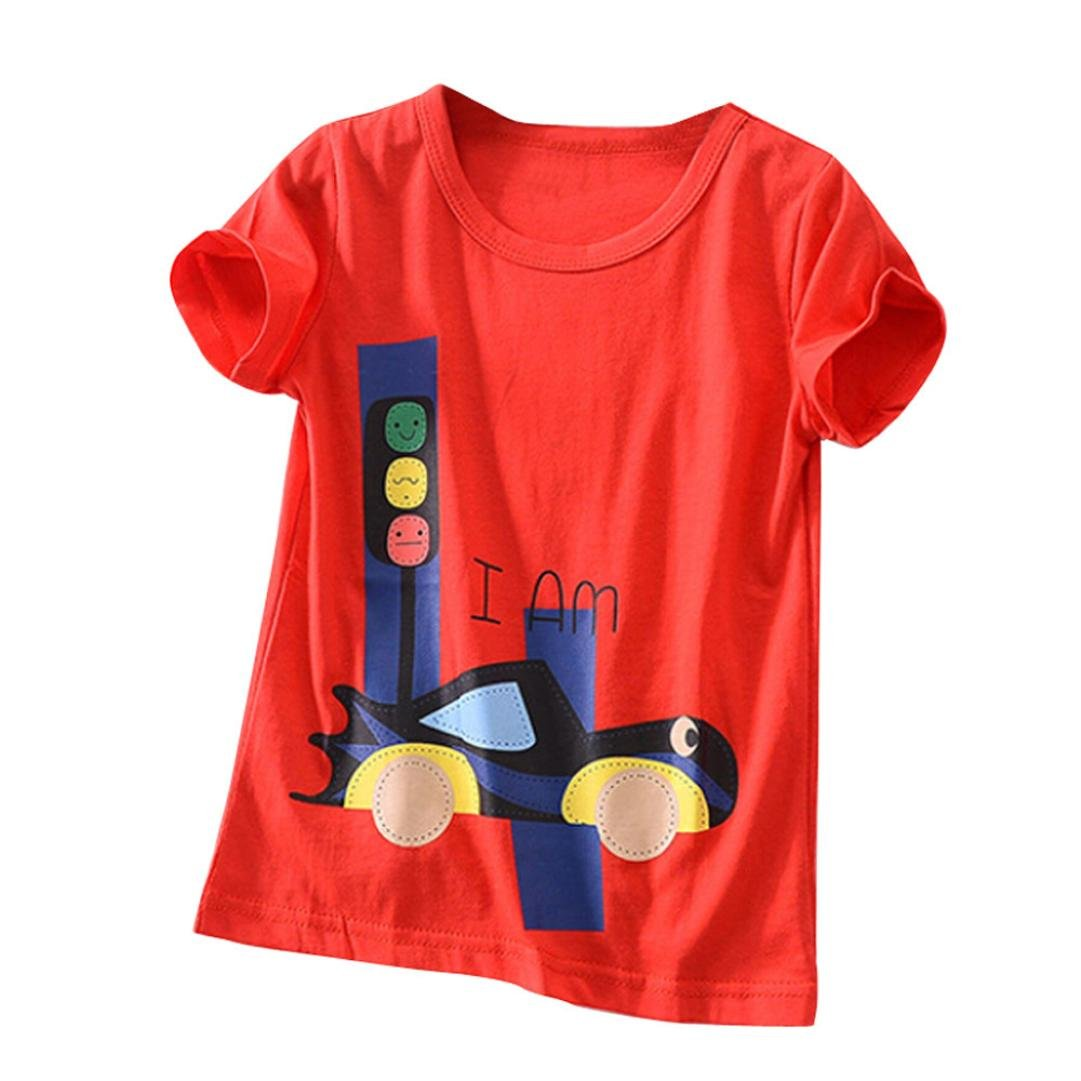 Webla Toddler Kids Baby Boys Girls t Shirt Clothes Short Sleeve Number Pattern Summer Tops Blouse Ages 2-6 Years