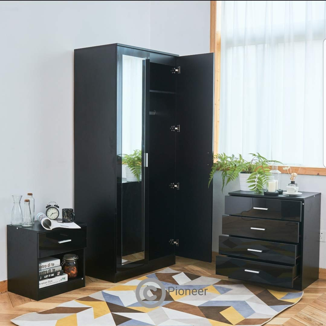 High Gloss 3 Piece Black Bedroom Furniture Set Soft Close Mirror Wardrobe 4 Drawer Chest Bedside Cabinet Buy Online In India At Desertcart In Productid 150973665
