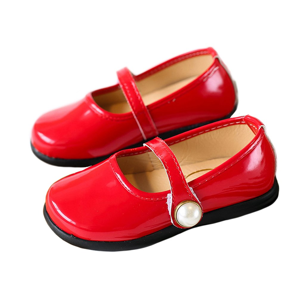 Toddler Girl Patent Leather Pearls Mary Jane Princess Dress Shoe Ballerina Flats Red Size 29