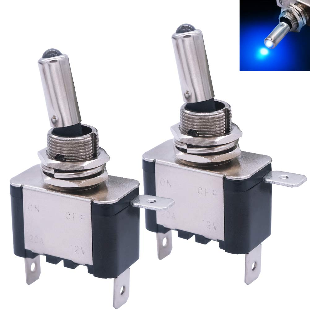 mxuteuk 2pcs Rocker Lighted Toggle Switch 12V 20A Blue LED Light Up Heavy Duty Toggle Switch SPST ON//Off 2Pin for Car Truck Boat ASW-07D-BU