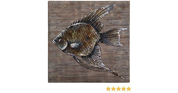 Amazon com uttermost 04273 iron fish wall art home kitchen