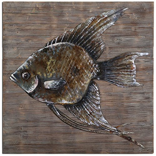 Feyock Collection Grace (Uttermost 04273 Iron Fish Wall Art, Brown)