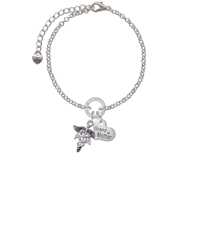 PA Grandmother You Are Loved Circle Bracelet Silvertone Caduceus 8