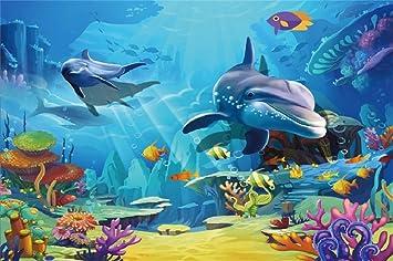 Amazon Com Leyiyi 10x8ft Underwater World Backdrop Cartoon
