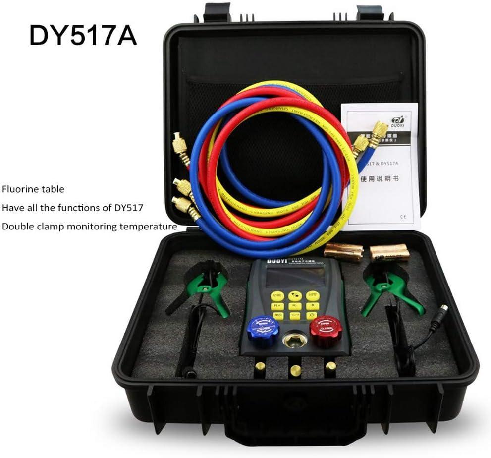 Juego de man/ómetro digital HVAC para refrigeraci/ón medidor de temperatura para prueba de aire acondicionado y refrigerador DY517A prueba de fugas de temperatura sistema de alta precisi/ón