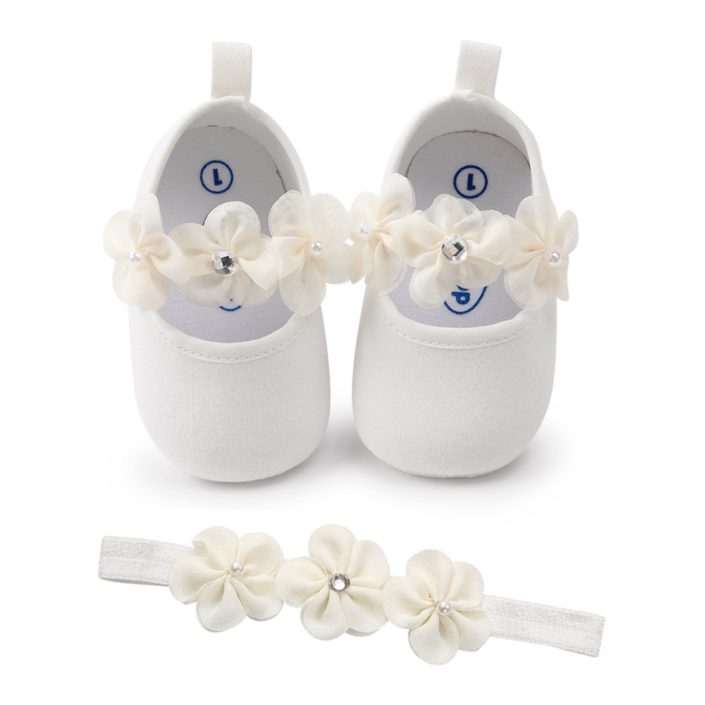 SOFMUO Baby Girls Floral Mary Jane Flats Soft Sole Infant Crib Walking Shoes with Headband (White,0-6Month)