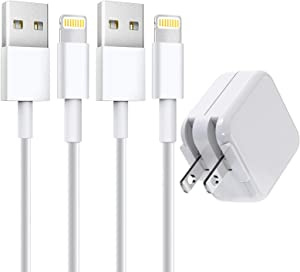 [Apple MFi Certified] iPad Charger, 2.4A 12W USB Wall Charger with Foldable Plug & 2 Pack 6FT Lightning Cable Fast Charging Data Sync Transfer Cord Compatible with iPhone 12/12 Pro/11/XS/XR/X 8 7/iPad