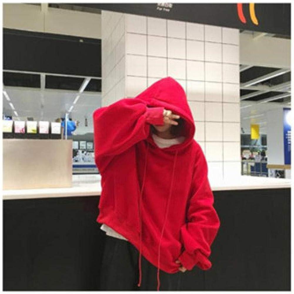 WBHMVMZ Frauen Pullover Student Jacke Langarm-Jacke Herbst und Winter sowie Samt lose Kapuze Laterne Ärmel Outdoor-Freizeit Rot