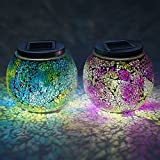 Lightshare MSKDQ-2 Mosaic Map Solar Jar Combo with Warm White and Color-changing, 5-Inch, Multi-color, Set of 2