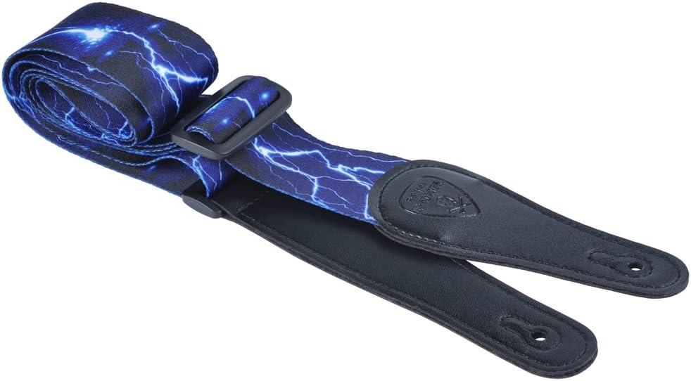 Punk - Correa para guitarra de poliéster terylene con extremos alargados de poliuretano y hebilla de ABS ajustable con diseño de moda, Blue lightening