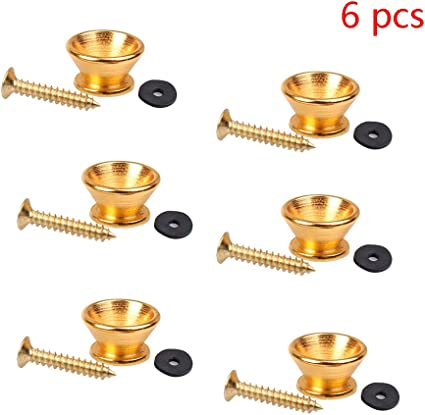 Pair of Gold Strap Lock Buttons for Electric Guitar and Bass