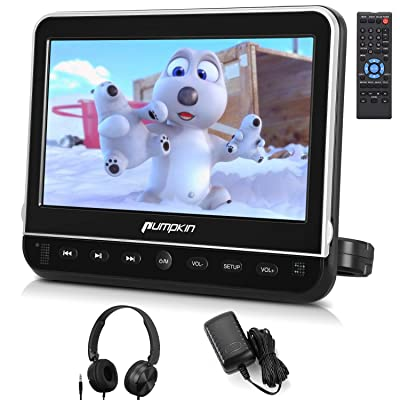 PUMPKIN 10.1 Inch Headrest Car DVD Player with Free Headphone, Support 1080P Video, HDMI Input, AV in Out, Region Free, USB SD, Mounting Brackets Included: Car Electronics