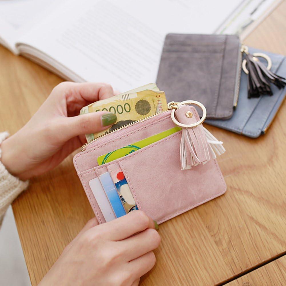 starlit Mini Tassel Pendant Faux Leather Women Card Holder Coin Purse Keychain Wallet