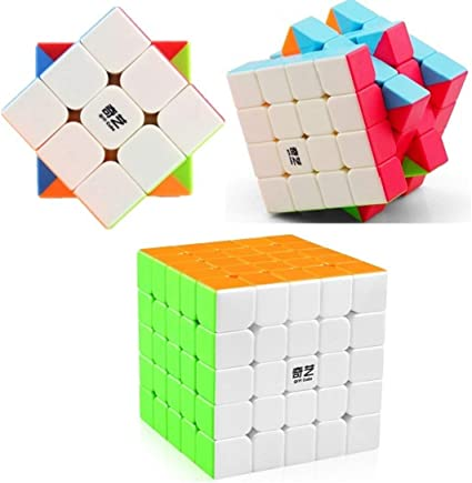 AdiChai New Combo Mega Offer of Three QIYI QiYuan Magic Speed Cubes - 3 by 3, 3x3 3 X 3 Cube ,4 X 4, 4X4 , 4 by 4 Cube, and 5X5 , 5 X 5 , 5 by 5 Speed Cubes.
