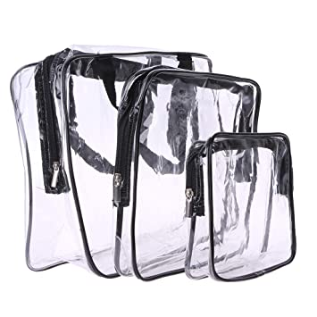 30a76b0c93 Onpiece Transparent Cosmetic Bag   Case Clear PVC Cosmetic Travel Makeup  Toiletry Bag Quart Luggage Pouch