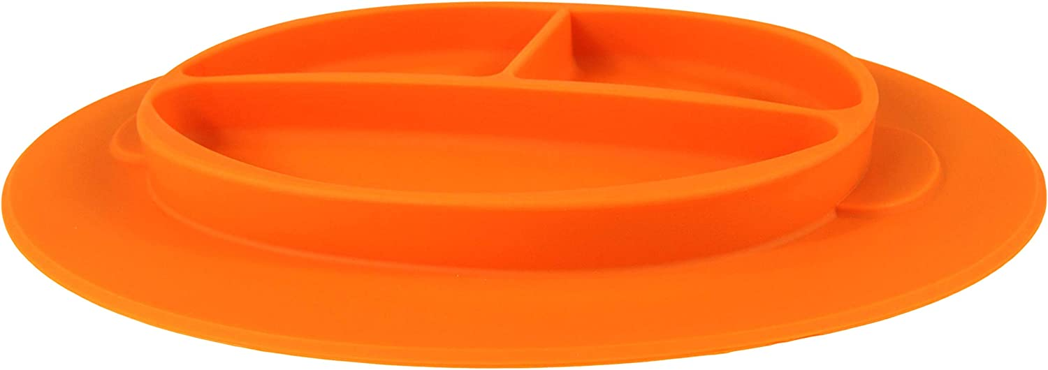 Toddlers Built-in Place-Mat for Infants RAZBABY RaZ-Plate Silicone Suction Baby Plate Perfect for Led Weaning Stays in Place Less Mess Babys First Plate Orange First Foods+Self-Feeding