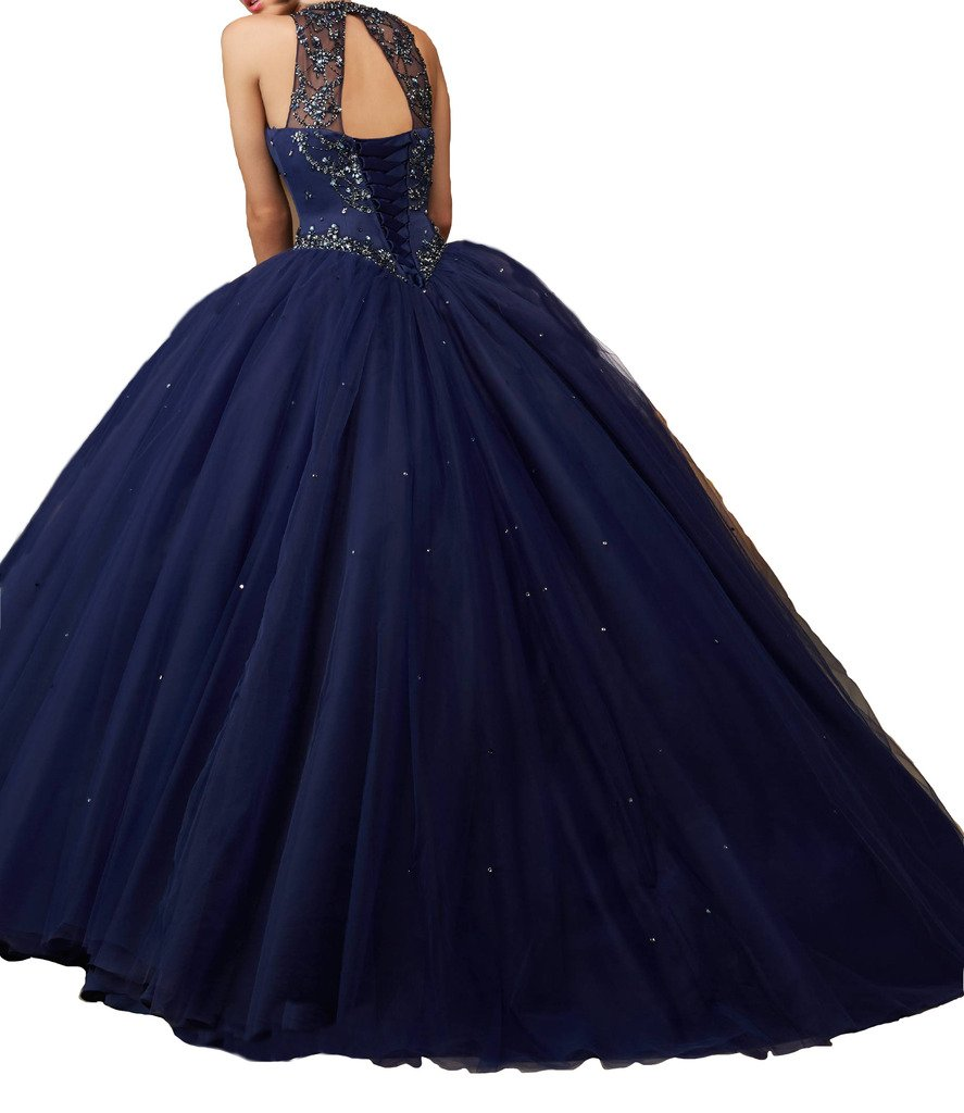BoShi Women's O neck Sweet 16 Beads Wedding Party Christmas Quinceanera Dresses 0 US Navy Blue by Unknown (Image #2)