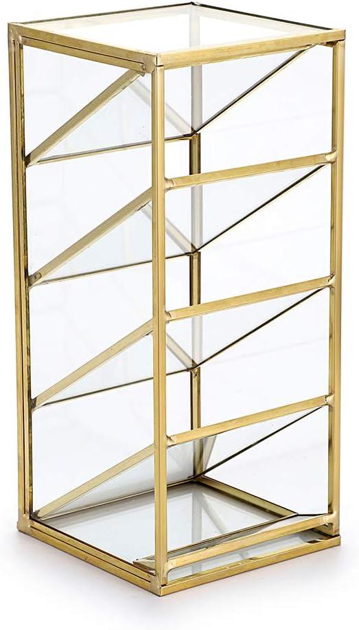 Hipiwe Vintage Gold Metal Desk Organizer - Glass Make up Brushes lipstick Holder Dresser Organizer Pen Pencil Storage Holder for School Home Office Supplies, 4 Compartment