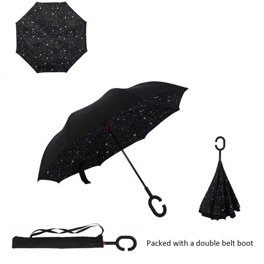 Paraguas de cierre invertido, de Asiki, cortavientos, plegable, doble capa, asa en forma de C, se mantiene en pie solo, manos libres, diversos colores, ...