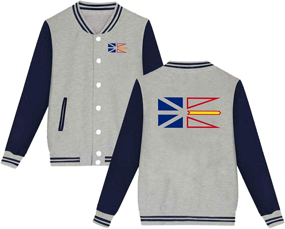 Newfoundland and Labrador Province Flag Unisex Baseball Uniform Jacket Sweatshirt Sport Coat